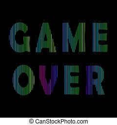 Retro Game Over Neon Sign. Gaming Concept. Video Game Screen.