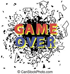 Retro Game Over Sign with Explosion. Gaming Concept. Video Game Screen.