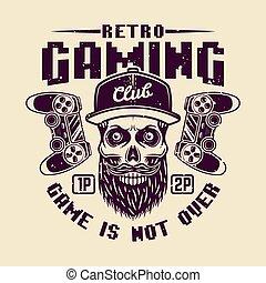 Retro gaming club vector with bearded gamer skull