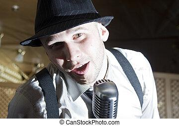 retro, gangster, śpiewak
