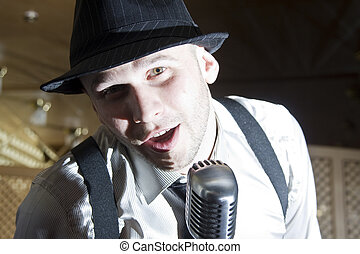 retro, gangster, chanteur