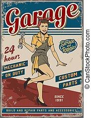 Retro garage repair service vintage poster