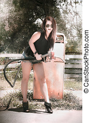 Retro Gas Shop Rock - Retro Woman High On Gasoline Fumes...