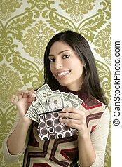 retro, geldbeutel, dollar, frau, weinlese, tapete