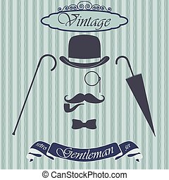 Retro gentleman elements set - bowler, moustache, tobacco...