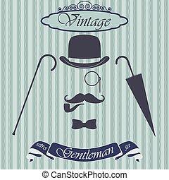 Retro gentleman elements set - bowler, moustache, tobacco ...