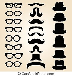 Retro gentleman's set consists of a hat, glasses and mustache