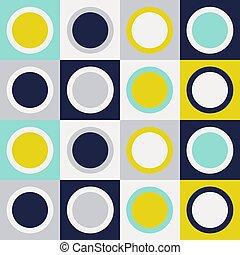 retro, geo, círculos, padrão, meio, geomã©´ricas, século, ...