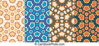 Retro geometric hexagon seamless pattern
