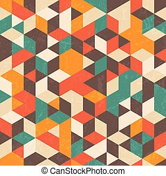 Retro geometric pattern with grunge texture. Seamless abstract background.