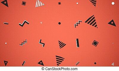 Retro geometric shape, abstract background. Elegant and luxury dynamic geometric 80s, 90s memphis style 3D illustration