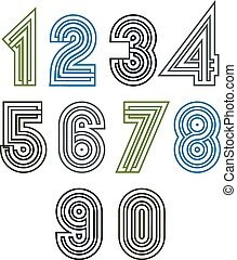 Retro geometric unusual striped numeration. Vector poster bright stylish numbers isolated on white background.