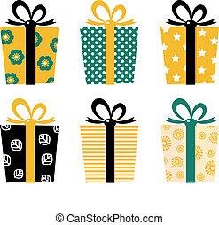 retro, geschenke, satz, freigestellt, weiß