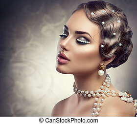 retro, gestyleerd, makeup, met, pearls., mooi, jonge vrouw , verticaal