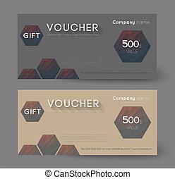 gift voucher - retro gift voucher with hexagons