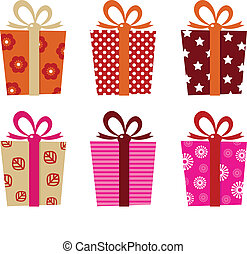 Retro gifts set isolated on white