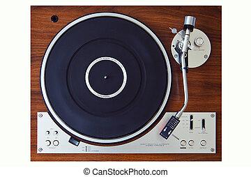 retro, giocatore, disco, piattaforma girevole, vinile, ...