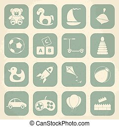 retro, giocattoli bambini, icona, set., vettore,...