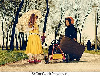 retro girl hitchhiker