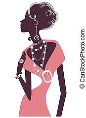 Retro girl in pink evening dress - Silhouette retro girl in...