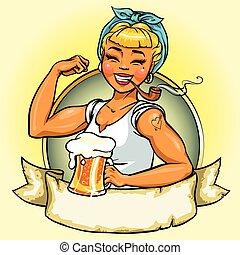 Retro Girl logo design, Vector Pin Up Illustration - Retro...