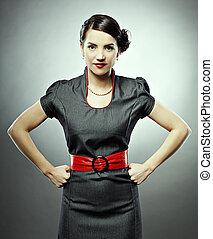 retro girl - pin-up style portrait of beautiful brunette ...