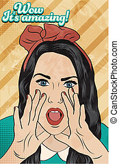 retro girl surprised, illustration in vector format