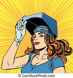 retro girl welder job construction pop art retro vector. ...