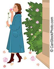 Retro girl with flower near rose bush