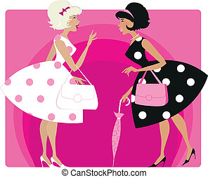 Retro girls - Vector illustraion of two stylish retro girls...