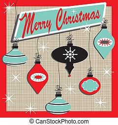 retro, glædelig jul