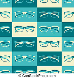 Retro Glasses Background - Seamless pattern with retro...