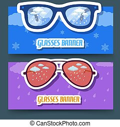 retro glasses banners. vector illustration design