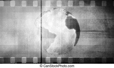 Retro globe film non looping black and white CG animated background