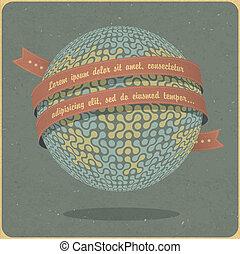 Retro globe symbol with ribbon and sample text. Vector, ...