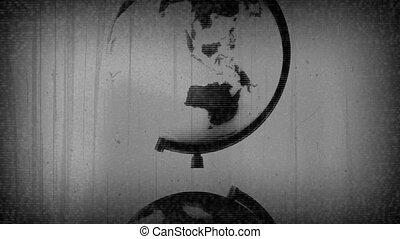 Retro Globe TV Static Black White