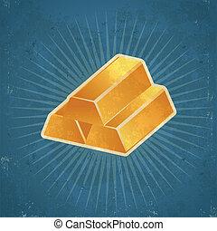 Retro Gold Bars Illustration - Retro grunge gold bars...