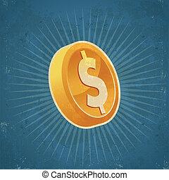 Retro Gold Dollar Coin