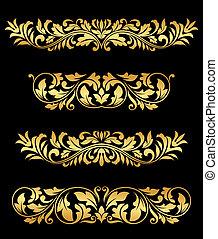 Retro gold floral elements and embellishments set for design...