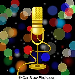 Retro Gold Microphone Icon Isolated on Blurred Colored Lights Background