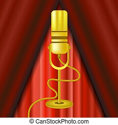 Retro Gold Microphone Icon Isolated on Red Curtain Background