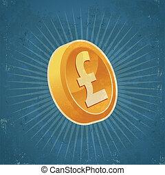 Retro Gold Pound Coin