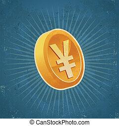 Retro Gold Yen Coin