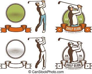 Retro golf badge with golfer hitting the ball