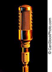 retro, goud, vocalist, microfoon