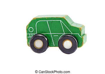 retro, grønne, træagtig vogn, legetøj modeller, isoleret, på hvide