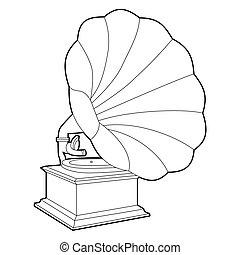 gramophone - retro gramophone. black outline on white...