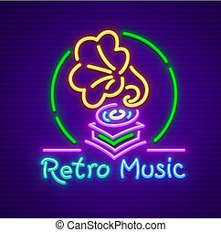 Retro gramophone old music neon sign icon