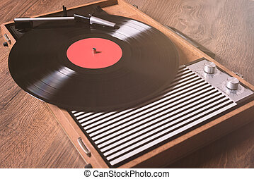 Retro Gramophone with a vinyl record