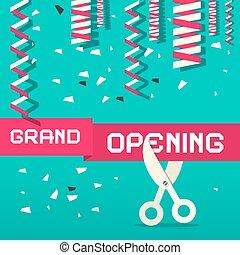 Retro Grand Opening Vector Illustration with Confetti and Scissors